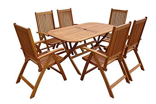 """Indoba Gartenmöbel Set, 7-teilig """"Bangor"""" - Gartenset - Serie Bangor, braun, 150 x 85 x 74 cm, IND-70064-BASE7"""