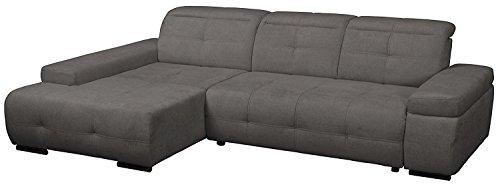 CAVADORE Polsterecke Mistrel mit Longchair XL links/Eck-Couch mit Schlaffunktion/Bettfunktion/verstellbare Kopfteile/Wellenunterfederung/Maße: 273 x 77-93 x 173 cm(B x H x T)/Farbe: Fango (grau)