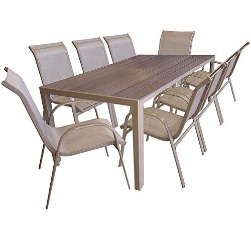 Multistore 2002 9tlg Gartengarnitur Sitzgruppe Gartenmöbel Set Aluminium Gartentisch mit Polywood Tischplatte 205x90cm Stapelstuhl pulverbeschichtet mit Textilenbespannung Champagner