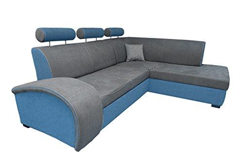 Polsterecke IWO CLASSIC Eckcouch Ecksofa Polstersofa Schlafsofa (Blau / Grau)