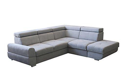 mb-moebel Ecksofa Eckcouch mit Bettkasten Sofa Couch L-Form Polsterecke Amur (Grau, Ecksofa Rechts)