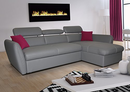 mb-moebel Ecksofa mit Schlaffunktion Eckcouch Sofa Couch L -Form Polsterecke mit Bettkästen Grau Allen (Ecksofa Rechts)