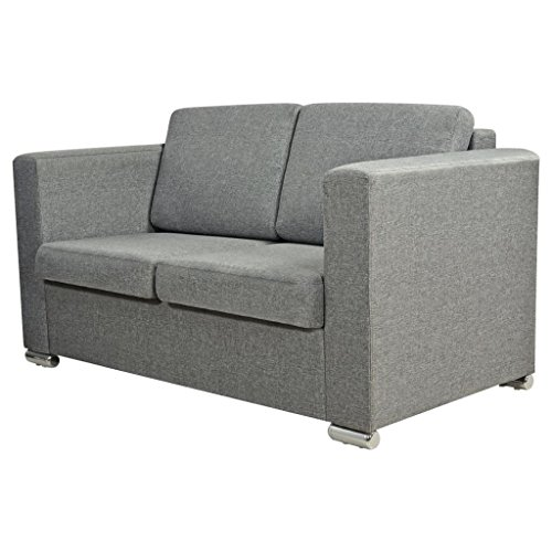 vidaXL 2-Sitzer Polstersofa Loungesofa Stoffsofa Couch Lounge Sitzmöbel Hellgrau