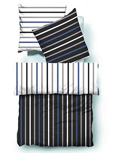 4-Teilig Microfaser Seersucker Bettwäsche weiss, schwarz, blau mit Reißverschluss gestreift in Wendeoptik 2x 135x200 Bettbezug + 2x 80x80 Kissenbezug , Öko-Tex Standart 100