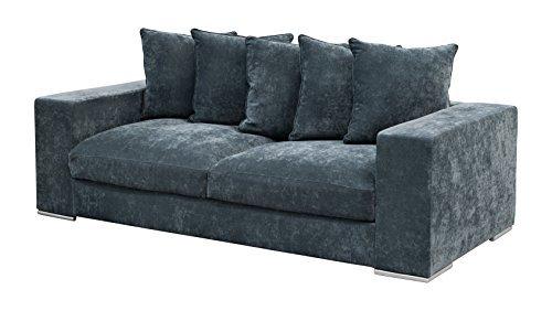 Amaris Elements   'Cooper' Modernes 3-Sitzer-Sofa inklusive 5 Kissen, Couch, 100% Mikrofaser, Samtoptik, blau grau - 3er Couch im Landhausstil