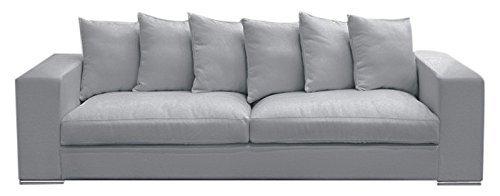 Amaris Elements   Sofa 'Monroe' inklusive 6 Kissen, Couch, 100% Mikrofaser, Samtoptik, hell-grau