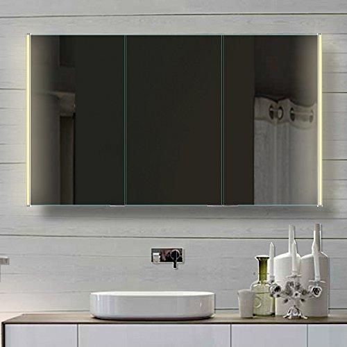 Badezimmer Spiegelschrank mit LED Beleuchtung lichtleistenden Acryl-Streifen 120cm HLC120H72