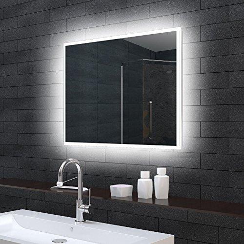 Lux-aqua Badezimmerspiegel Wandspiegel Lichtspiegel LED Beleuchtung 100x70cm MLE71000