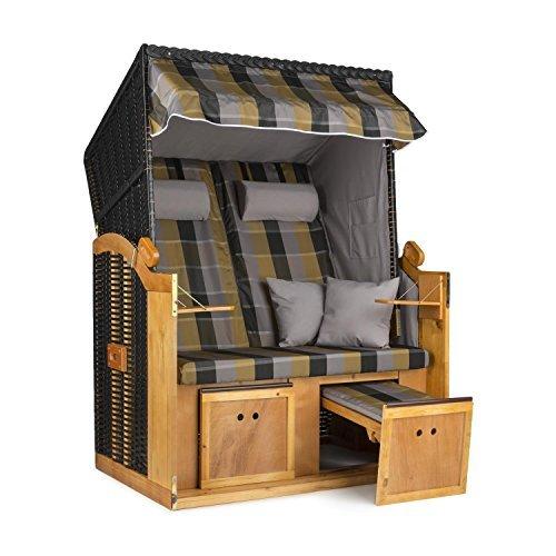 blumfeldt Hiddensee Strandkorb XL Zwei-Sitzer 118 cm Volllieger mit Klapptisch für Garten oder Terrasse (ausziehbare Fußstützen mit Polsterung, 5-stufig absenkbare Haube, Massivholz) Anthrazit