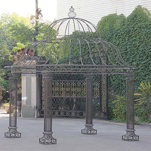 CLP Garten-Pavillon PALAIS, rund Ø 3,70 Meter, Höhe 440 cm, stabiles Eisen (Metall), schlichtes & stilvolles Design Bronze