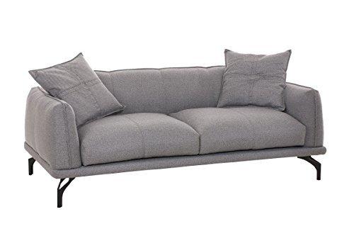 CLP 3er-Sofa Lucien Inklusive Dekokissen I Couch mit üppiger Polsterung und pflegeleichtem Stoffbezug I in Verschiedenen Farbvarianten erhältlich Grau