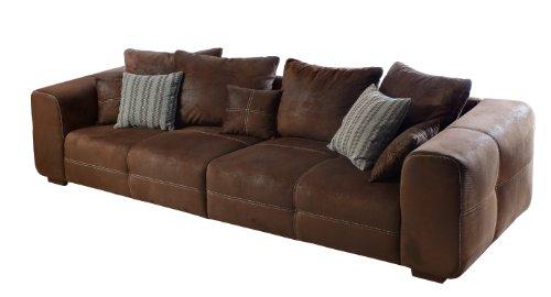 CAVADORE Big Sofa Mavericco/Große Polster Couch mit Mikrofaser-Bezug in antiker Lederoptik/Inklusive Rückenkissen und Zierkissen in braun/Maße: 287 x 69 x 108 cm (BxHxT)/Farbe: Antik Braun