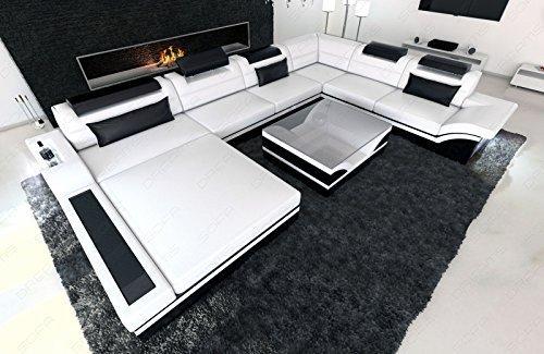 Leder Wohnlandschaft Mezzo XXL moderne Couch mit LED weiss - schwarz