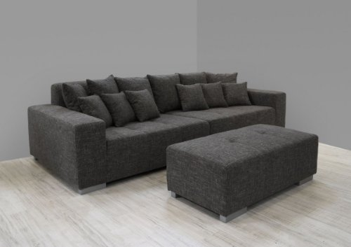 Dreams4Home Big Sofa Liona Wohnlandschaft Polstergarnitur Couch Polstersofa opt. mit Hocker grau, Hocker:mit Hocker