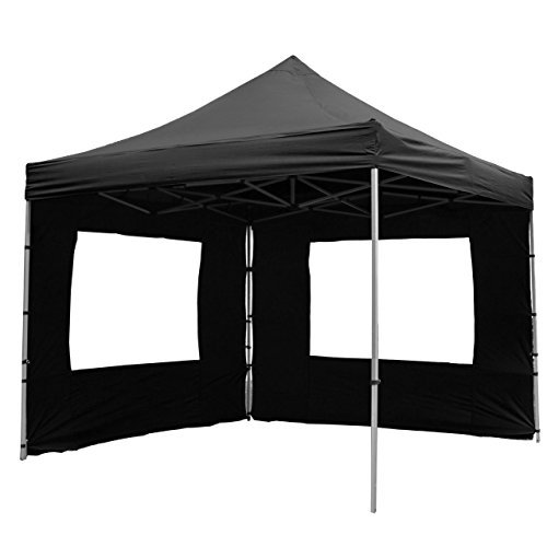Nexos PROFI Faltpavillon Partyzelt Pavillon 3x3 m mit 4 Seitenteilen - hochwertige Ausführung - wasserdichtes Dach mit PVC-coating - 270 g/m² incl. Tragetasche und Zubehör – Farbe: schwarz