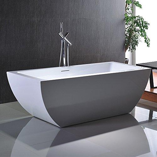 Freistehende Badewanne NOA 170x80cm Sanitäracryl Weiß ohne Freistehende Armatur