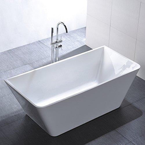 Freistehende Badewanne Usedom 170x80cm Sanitäracryl Weiß Modern Inklusive Freistehende Armatur
