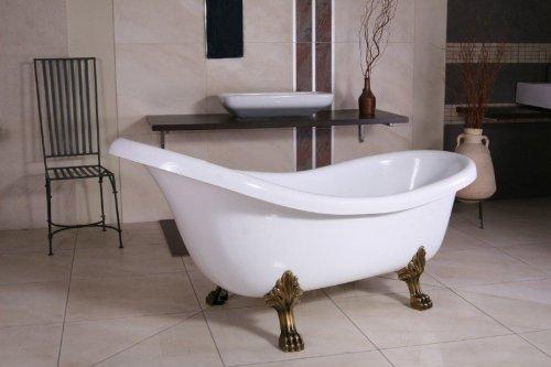 Casa Padrino Freistehende Luxus Badewanne Jugendstil Sicilia Weiß/Altgold 1740mm - Barock Badezimmer - Retro Antik Badewanne