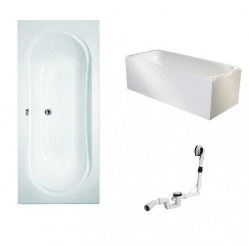 Galdem Badewannen Set GABWSET110WT, 180 x 80 cm, hochwertiges Wannen komplett SET bestehend aus einer Rechteck Acryl Design Badewanne, Wannenträger aus Styropor so