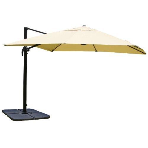 Mendler Gastronomie-Luxus-Ampelschirm Sonnenschirm N22, 4,3 m ~ creme mit Ständer