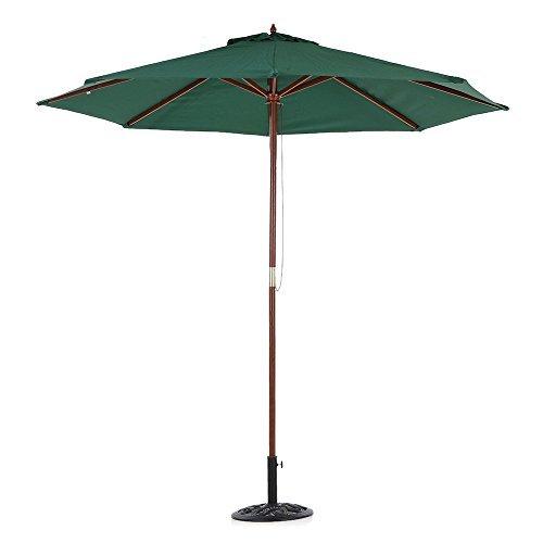 IKAYAA Ø 270cm Holz Sonnenschirm Ampelschirm Gartenschirm mit 8 Rippen