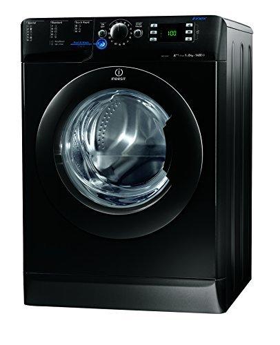 Indesit XWE 81483X K EU Waschmaschine FL / A+++ / 193 kWh/Jahr / 1400 UpM / 8 kg / 11594 Liter/Jahr / Push und Wash / Inverter-Motor / leise nur 52 db / Schnellprogramm 9-30-60 Min / schwarz