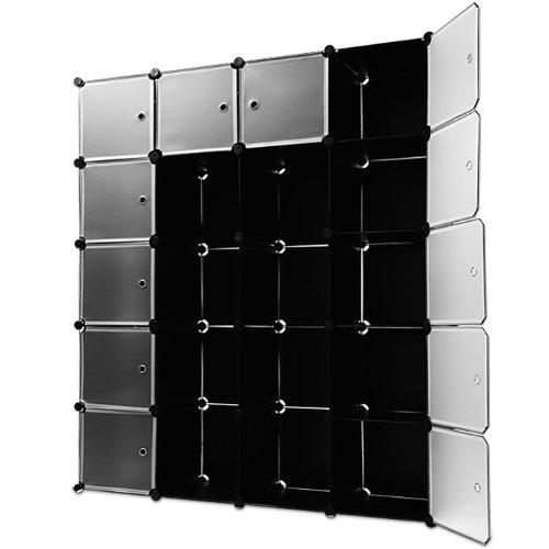 Regalsystem 20 Boxenfächer Steckregal Kleiderschrank DIY Garderobe Schuhregal Kunststoffboxen in schwarz