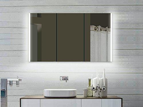Lux-aqua Alu Badezimmerspiegelschrank mit Beleuchtung LED - LLC 120x70 cm