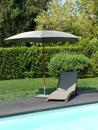 Maffei Art 66Madera. sechseckiger Sonnenschirm Durchmesser cm. 280aus Stoff Polyma. Gestell Effekt Holz. Made in Italy. Farbe Taupe