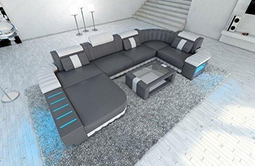 Mega Ledersofa Bellagio U-Form mit LED Beleuchtung grau-weiss