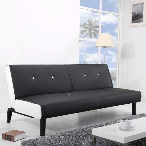 NEG Design Schlafsofa HELIOS (schwarz/weiß) Klappsofa/Gästeliege mit Napalon-Leder-Bezug Klappsofa (3-Sitzer)