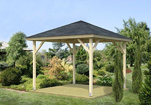 Pavillon Sorbus S18 naturbelassen - 90 x 90 mm Pfostenstärke, Grundfläche: 7,80 m², Zeltdach