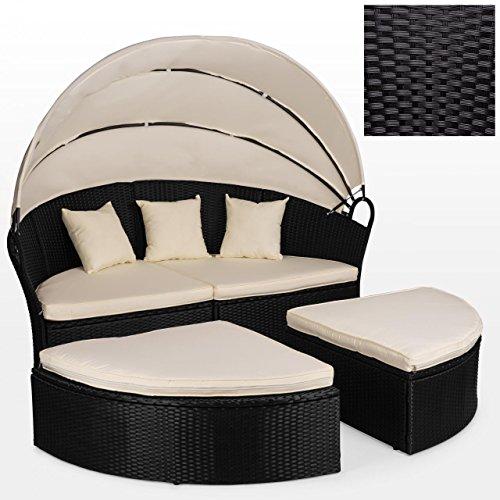 Polyrattan Sonneninsel Liege Lounge Gartenmöbel Ø 184 cm mit Verstellbarem Sonnendach mit Kissen und Auflage