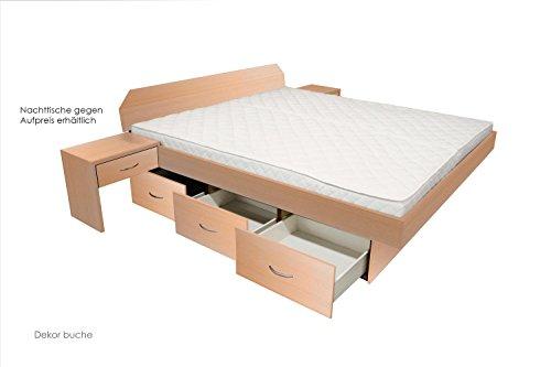 bellvita Wasserbett mit Schubladensockel in Komforthöhe, Bettumrandung mit Aufbau, buche, 140 cm x 200 cm
