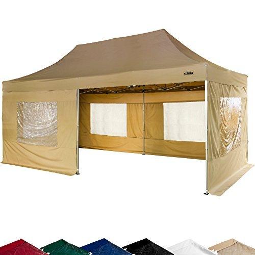 STILISTA Falt-Pavillon 3x6m inkl. Seitenteile, WASSERDICHT, versiegelte Nähte, EV1 Voll-Aluminium, Tragetasche