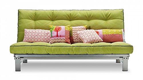 Schlafsofa limonengrün Stoff Metallgestell Couch Liege Bett günstig