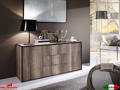 Sideboard Kommode Anrichte 2-türig 555008 eiche san remo / anthrazit Beton-Optik mit Schubkästen