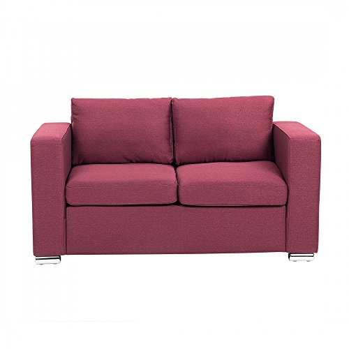 Beliani 2-Sitzer Sofa Polsterbezug Burgunderrot Helsinki