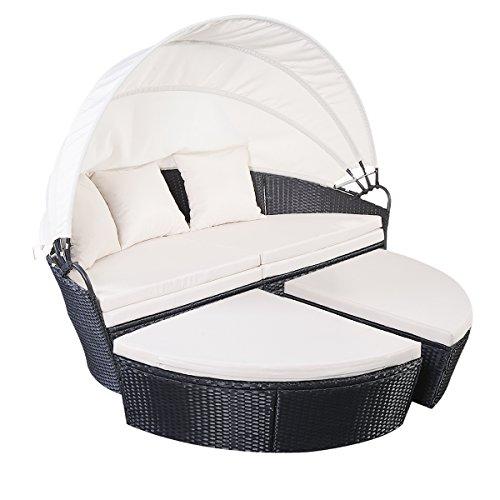 Sonneninsel Sonnenliege Polyrattenliege Rattan Lounge Rattenbett Gartenliege GartenmöbelSitzgarnitur Strandkorb mit Sitzauflage Sonnendach