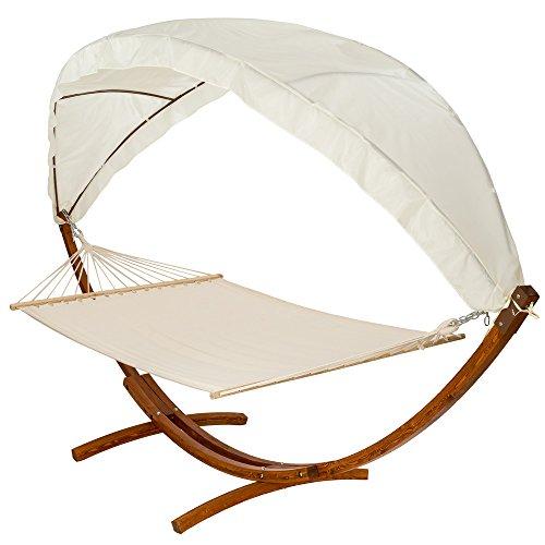TecTake 400 CM XXL Hängematte mit Gestell Holz + Dach Gartenliege bis zu 2 Personen Sonnenliege Gartenmöbel