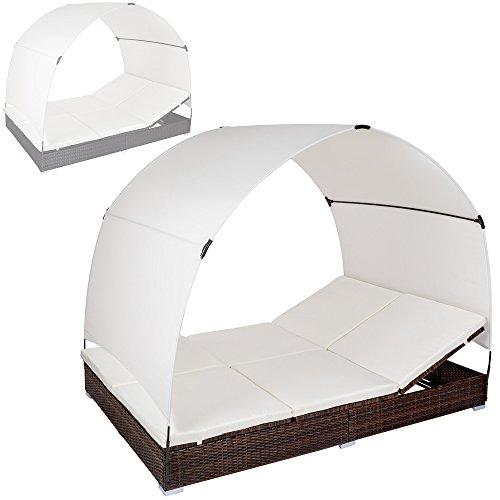 TecTake Alu Sonnenliege Poly Rattan Gartenliege Loungeliege Gartenlounge Doppelliege mit Dach 2 Personen - diverse Farben - (Schwarz-Braun | Nr. 401557)