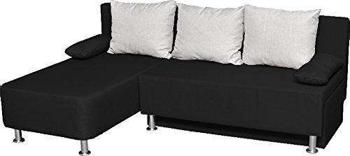 """VCM Ecksofa Bettsofa Schlafsofa Sofa Couch mit Schlaffunktion Gästebett """"Magota Schwarz"""" 81 x 203 x 78 cm"""