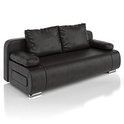 vicco schlafsofa sofa couch ulm federkern schlafcouch pu leder schwarz g stebett m bel24. Black Bedroom Furniture Sets. Home Design Ideas