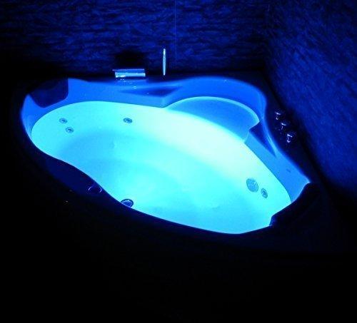 Whirlpool Badewanne Paris MADE IN GERMANY mit 8 Massage Düsen + LED Unterwasser Beleuchtung / Licht + Balboa + MIT Armaturen Eckwanne