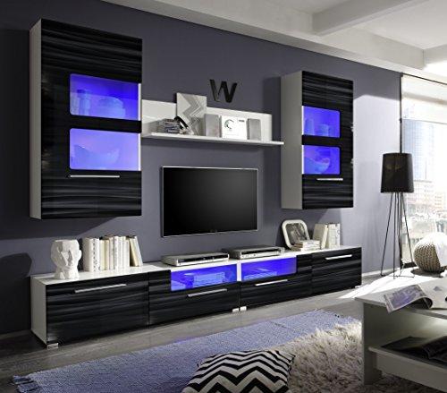 hbz meble wohnwand corner wei schwarz hochglanz blaue beleuchtung m bel24. Black Bedroom Furniture Sets. Home Design Ideas