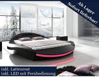 XXXL Designer Bett Designerbett LED Beleuchtung Schwarz ...