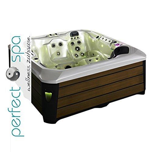 """perfect-spa Whirlpool """"Rio II"""" Indoor / Outdoor für 5 Personen Whirlpools Aussenwhirlpool Hot Tub Spa Außenwhirlpool Balboa Steuerung (Wanne Sky White, Außenverkleidung in Braun)"""