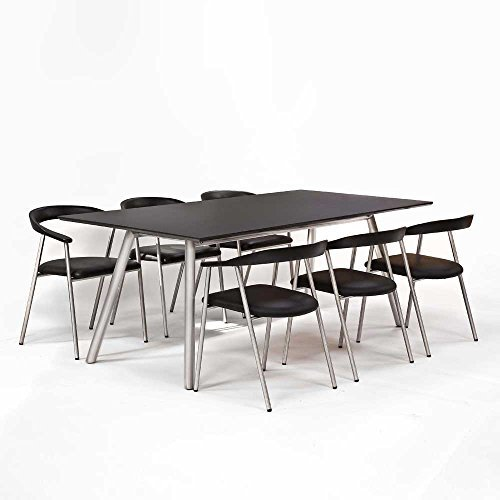 Pharao24 Esstisch mit Stühlen in Schwarz Silber Echtleder Edelstahl (7-Teilig)