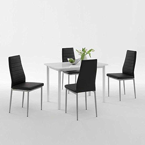Pharao24 Esstisch mit Stühlen in Weiß Hochglanz Schwarz Kunstleder (5-Teilig)