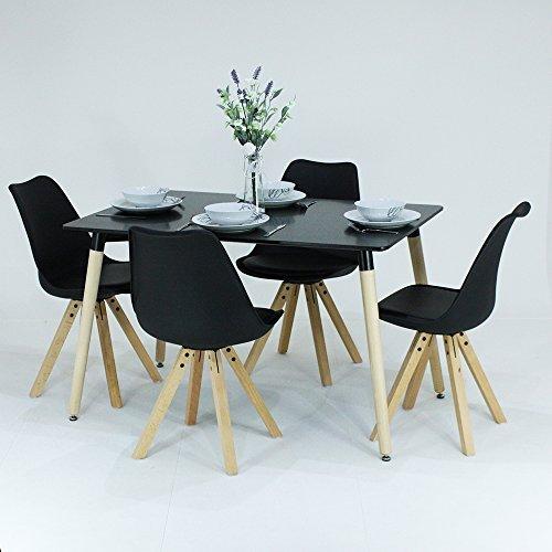 P & N Homewares® Sophia Esstisch und 4Stühle Set Retro Stühle schwarz oder weiß erhältlich Tisch weiß schwarz oder grau moderne Retro Modern skandinavischen Möbeln